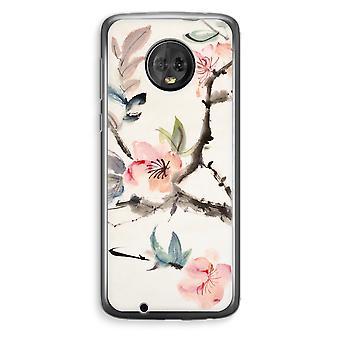 Motorola Moto G6 Plus Transparent Case (Soft) - Japenese flowers