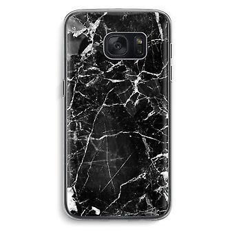 Samsung Galaxy S7 Transparent fodral (Soft) - marmor svart 2