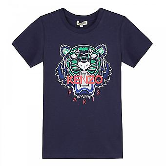 Kenzo juniorer Tiger Face Print JB 1 T-Shirt (Navy)