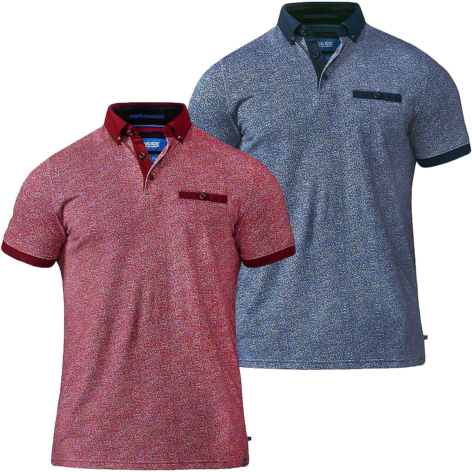 D555 Duke Mens Duncan Big Tall King Size Short Sleeve Solid Polo Shirt Top