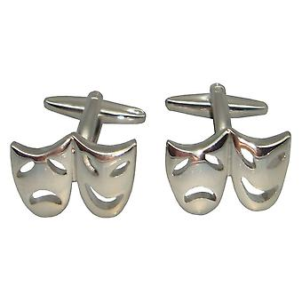 Bassin and Brown Happy and Sad Cufflinks - Silver