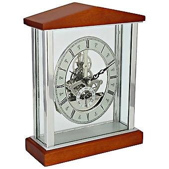 David Peterson Skeleton Quartz Clock - Silver/Cherrywood Brown