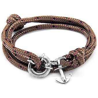 Anchor and Crew Clyde Silver and Rope Bracelet - Brown