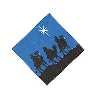 16 Small Three Wise Men Nativity Silhouette Christmas Party Napkins