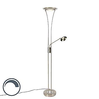 QAZQA Modern Floor Lamp Uplighter with Reading Arm Steel incl. LED - Ibiza