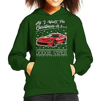 All I Want For Christmas Is A Dodge Viper Kid's Hooded Sweatshirt