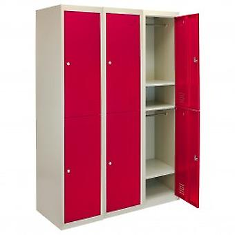 3 x Metal Storage Lockers - Two Doors, Red - Flatpack