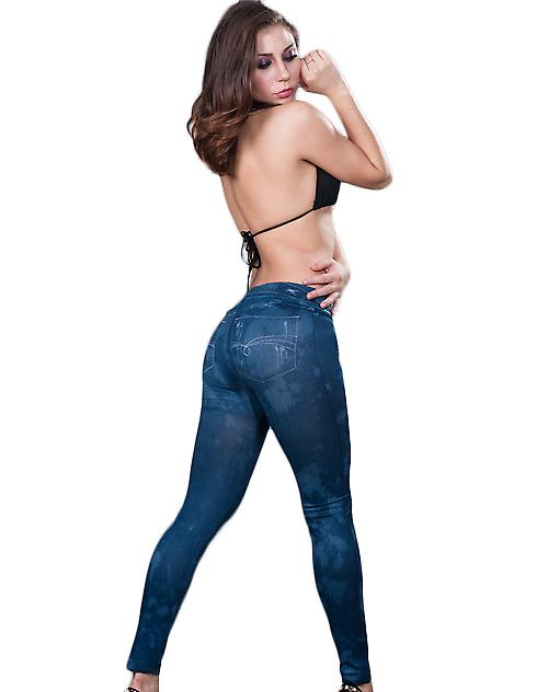 Waooh - Fashion - Light Blue Jean Leggings long
