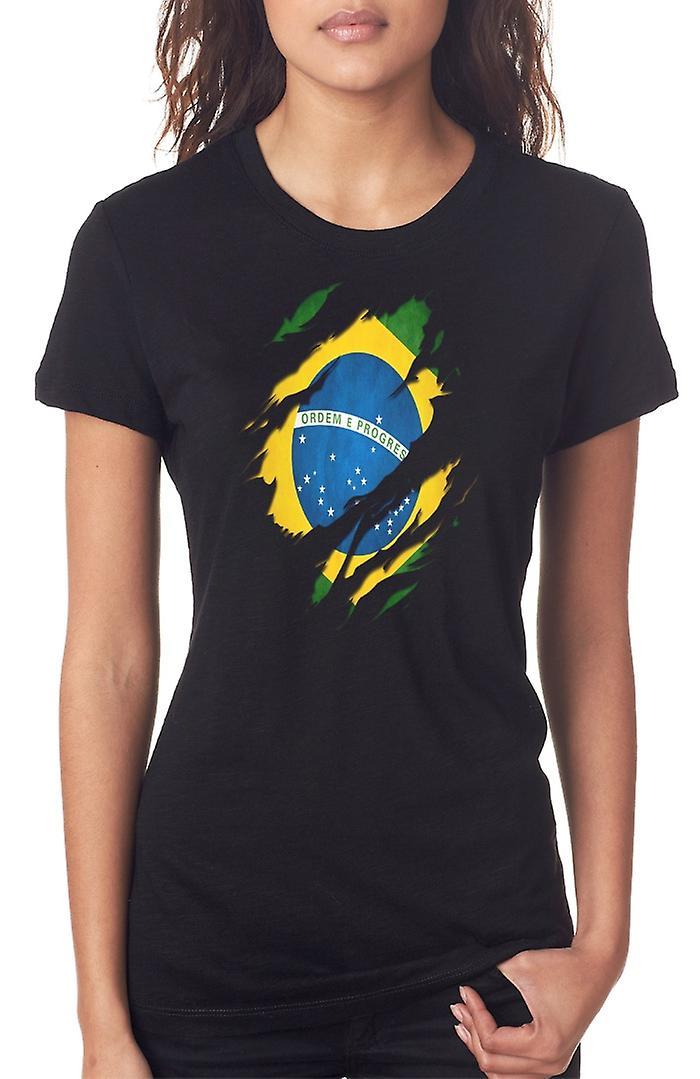 Ripeado de bandera brasileña Grunge efecto las señoras T Shirt