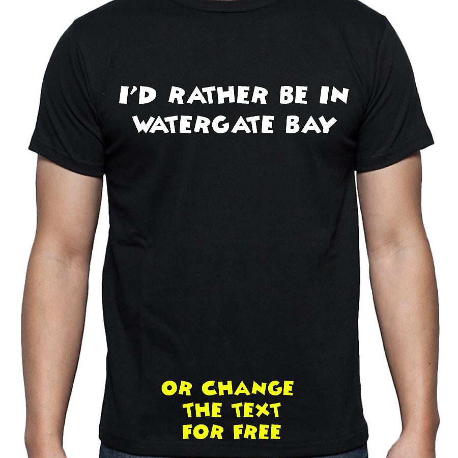 I'd Rather Be In Watergate bay Black Hand Printed T shirt