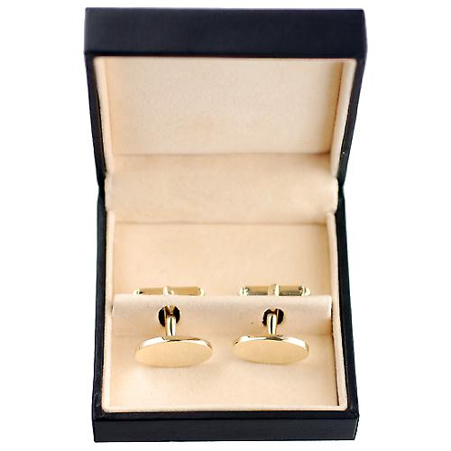 9ct Gold 19x11mm oval plain swivel Cufflinks