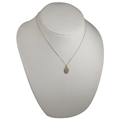 9ct Gold 16x11mm plain oval Disc with a curb Chain 18 inches
