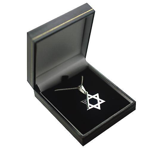 Silver 27x27mm plain Star of David Pendant on a bail with a curb chain