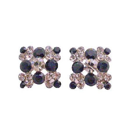 Black & Black Diamond Crystals 6mm Jet Crystals Embossed Earrings