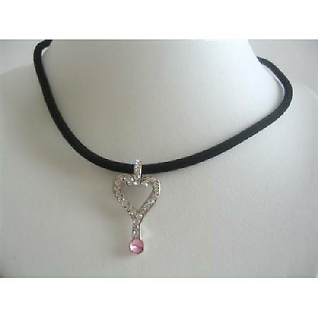Key Bling Bling Pendant Choaker Black Velvet Chord Necklace