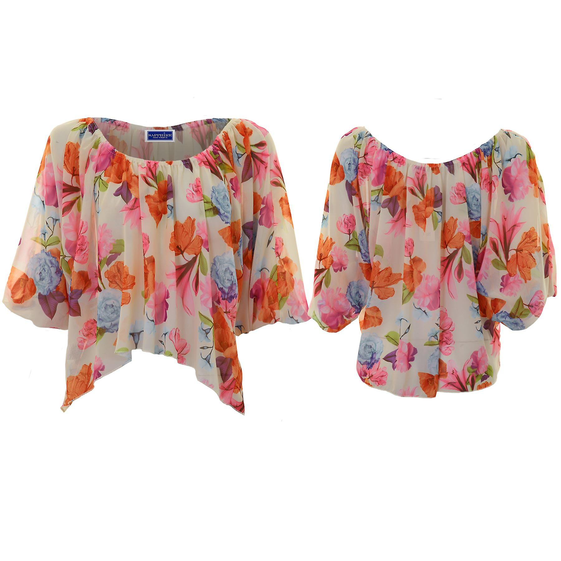 Ladies Floral High Low Chiffon Semi Sheer Waterfall Crop Top Batwing Blouse