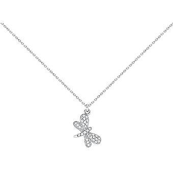 Bella Cubic Zirconia Dragonfly Pendant - Silver