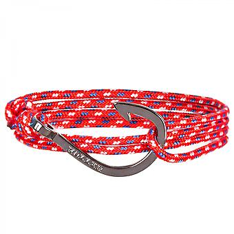 Holler Kirby  Black Polished Hook / Red, Blue and White Paracord Bracelet HLB-03BKP-P02