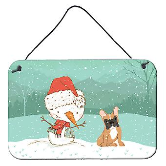 Fawn French Bulldog Snowman Christmas Wall or Door Hanging Prints