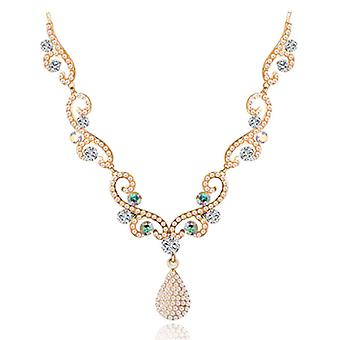 14K Gold Plated Swarovski Elements Crystals And Simulated Pearl Necklace