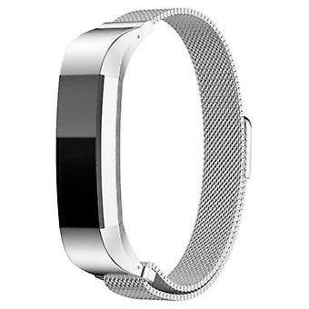 Magnetic stainless steel watch band strap for fitbit alta/alta hr silver