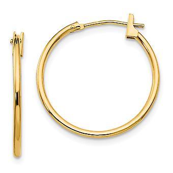 14k Yellow Gold Hollow Polished 1mm Hoop Earrings - .4 Grams - Measures 21x21mm