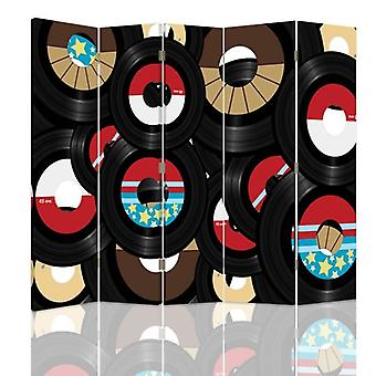 Room Divider, 5 Panels, Double-Sided, Rotatable 360, Canvas, Vinyl