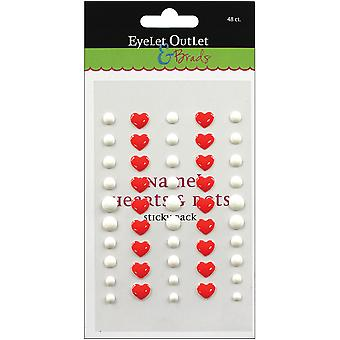 Eyelet Outlet Adhesive-Back Enamel Hearts 48/Pkg-Red/White EN48-E1C