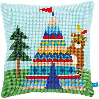Bear And Teepee Cushion Cross Stitch Kit-16