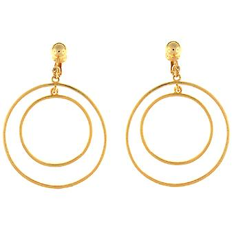 Kenneth Jay Lane Gold Plated Double Hoop Clip On Earrings