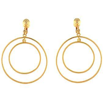 Doppio cerchio Clip su orecchini placcato in oro di Kenneth Jay Lane