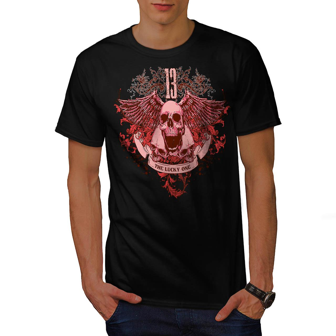 Ghost Lucky Skull Charm Head Men Black T-shirt | Wellcoda