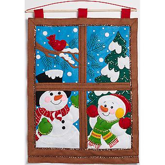 Winter Window Wall Hanging Felt Applique Kit-15