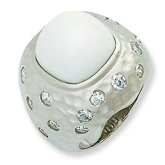 Sterling Silver Satin Simulated White Agate and CZ Ring - Ring Size: 6 to 8