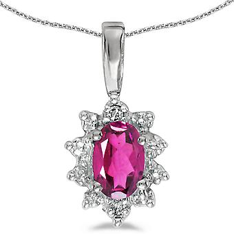 14k White Gold Oval Pink Topaz And Diamond Pendant with 18