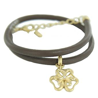 Skagen Ladies bracelet leather double-breasted gold flower JBG0019