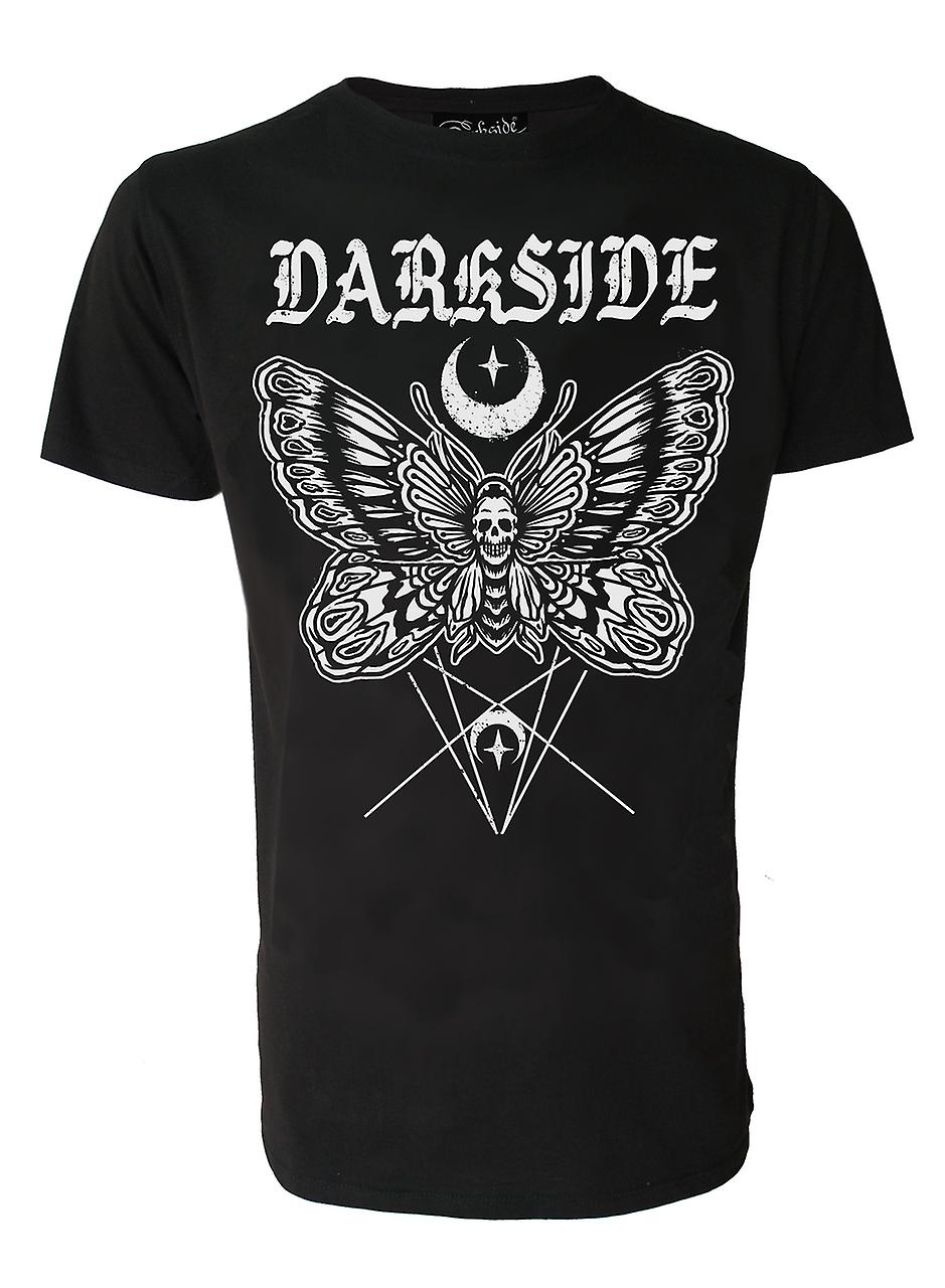 Darkside Mens Death Moth Tshirt Top Black Occult Skull Symbols Moon Star