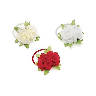 Elegant Double Red Flower Hair Elastic Bridal with Green Leaf