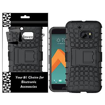 InventCase HTC 10 2016 Heavy Duty Shockproof Case Cover with in Built Stand - Black