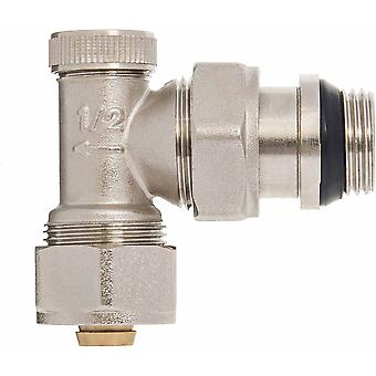 Manual Angled Radiator Valve 16mm PEX compression fittings x 1/2