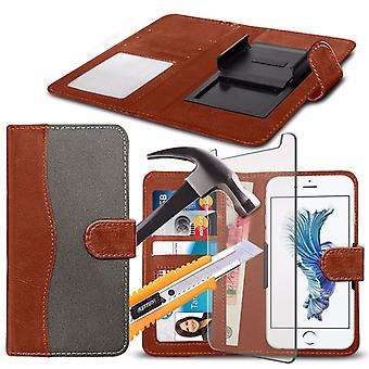 i-Tronixs - LeEco Le Pro 3 Al Standard Edition (5.5) High Quality Fabric Material Clamp Wallet Case with Tempered Glass - Grey and Brown