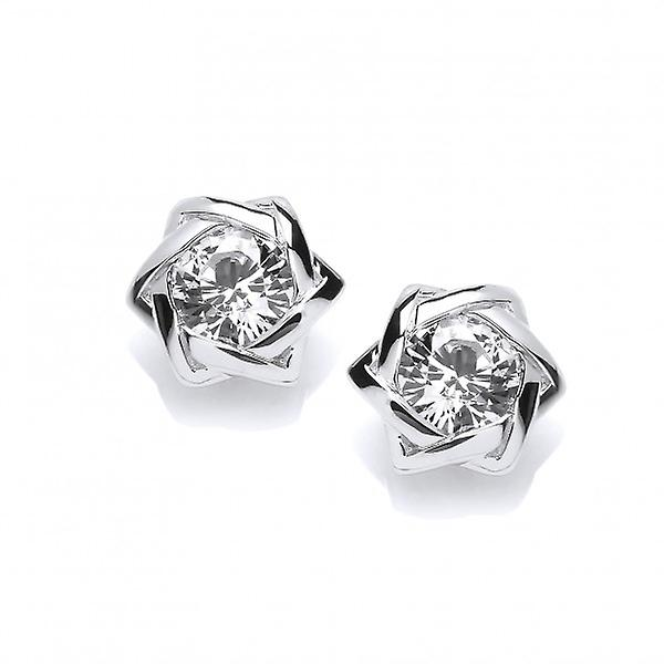 Cavendish French Sterling Silver Twist and CZ Stud Earrings