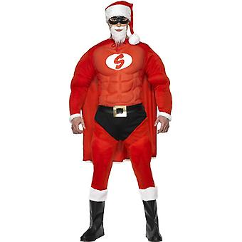 Super Santa costume muscle suit Santa Claus Santa Claus super hero