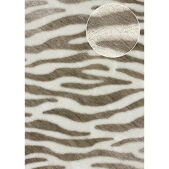 Animal motif wallpaper Atlas SKI-5069-4 non-woven wallpaper imprinted with zebra pattern white shimmering perl white terra Brown pale brown 7,035 m2