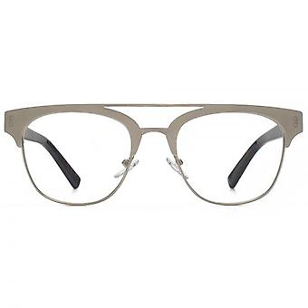 Hook LDN Faraway Stainless Steel Clubmaster Glasses In Brown
