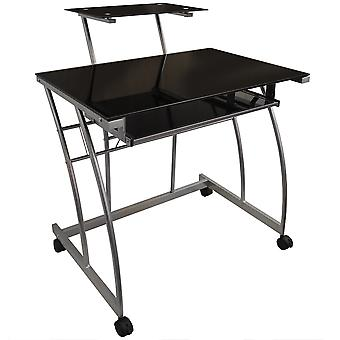 Onyx - Metal And Glass Office Desk With Storage - Black / Silver