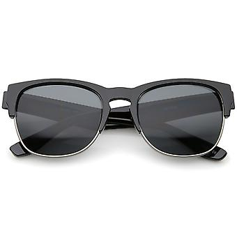 Contemporary Wide Temple Keyhole Nose Bridge Half-Frame Sunglasses 54mm