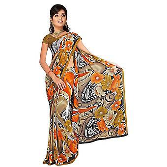 Daya Georgette gedruckt Casual Sari Sari Bauchtanz Stoff