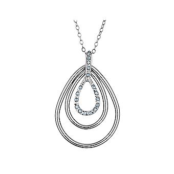 Triple Teardrop Diamond Necklace in Sterling Silver with Chain