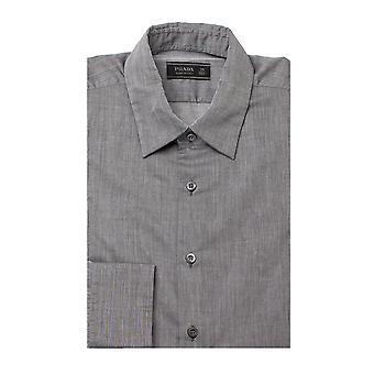 Prada mænds semi-sprede krave bomuld kjole skjorte grå